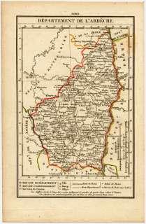 CARTE ANCIENNE XIXème Dept ARDECHE 1823 Dos vierge
