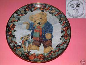 Bear PLATE Franklin Mint Ltd# BENGRY Teddys Winter Fun