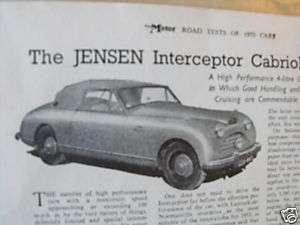 ORIGINAL 1953 ROAD TEST   Jensen Interceptor cabriolet
