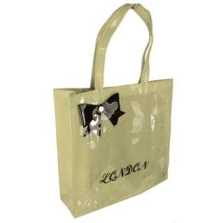 Womens Large PVC Bow Designer London Shopper Tote Bag