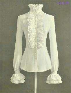 Brand Noble Luxury Victorian Tops Women Shirt Ruffle Flounce Ladies