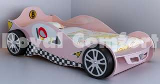 Bed Pink Girls Racing Car Toddler Bed Frame With Orthopaedic Mattress
