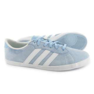 adidas QT Court Womens Blue Suede Soft Touch Casual Leisure Trainers