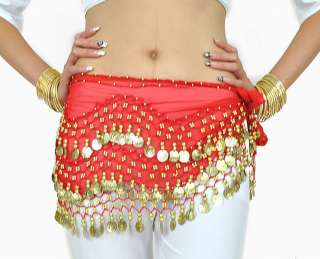 Belly Dance Gold/Silver Coin Belt Hip Scarf Skirt $3P&H