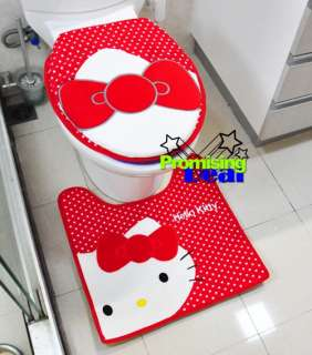 Hello Kitty Bath Mat Rug Toilet Seats Lid Cover Red