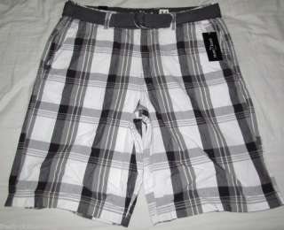 MARC ECKO $48 Grey Plaid Company Belt Shorts Choose Sz