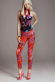 NWT Versace for H&M RED Floral Print Slim Fit Jeans Pants US 6