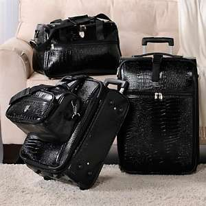 Gianna Croco Embossed 4 piece Luggage Set by Travel Concepts   A