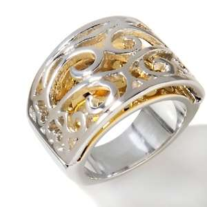 Stately Steel Two Tone Stainless Steel Band Ring