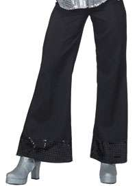 Black Disco Pants With Sequin Cuff   Disco Costumes