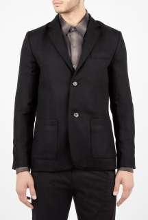 Black Herringbone Wool Slim Blazer by A.P.C