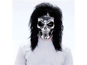 Maniacs PVC Molded Metallic Silver Skull With Black Hair Adult Costume