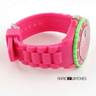 Girls Rose Red Jelly Silicon Rubber Quartz Sport Wrist Watch