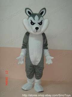 GRAY GREY WOLF ADULT SIZE MASCOT COSTUME SUIT CLOTHING
