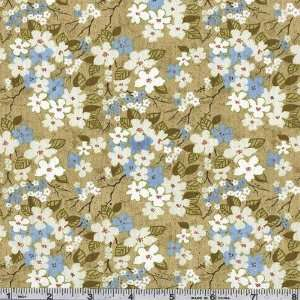 45 Wide Asian Pacific Cherry Blossoms Moss Fabric By The