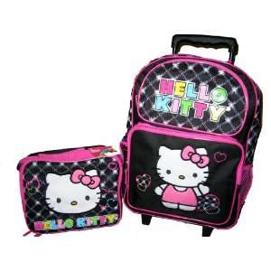 Hello Kitty Large Black Rolling Backpack Toys & Games