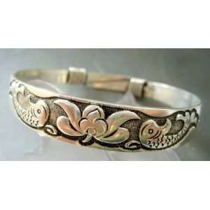 Tibetan Silver Twin Fishes Flower Bangle Bracelet