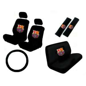 11PC FC Barcelona Low Back Seat Covers Bench Seat Cover Shoulder Pads
