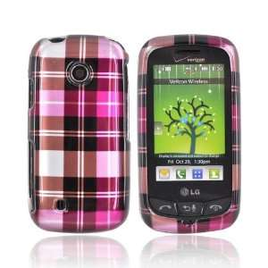 PLAID BROWN PINK For LG Cosmos Touch Hard Case Cover Electronics