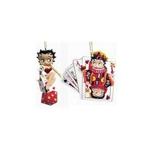 Set of 2 Betty Boop Cards & Dice Christmas Ornaments