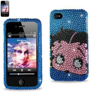 IPhone 4 4S Betty Boop Face Blue Bling Diamond Hard Case