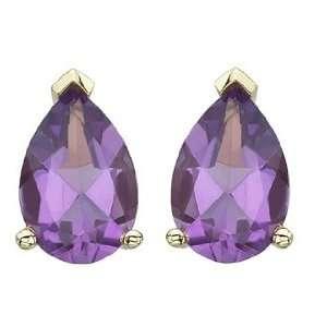 Pear Shape Purple Amethyst Prong Set Birthstone Stud Earrings Jewelry