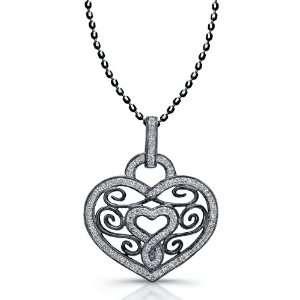 Victoria Kay 14k Black Rhodium Plated White Gold Diamond Vintage Heart