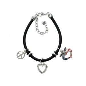 Plated Black Rubber Peace Love Charm Bracelet Arts, Crafts & Sewing