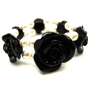 Faux Ivory Pearl Bead Stretch Bracelet with Black Roses Jewelry