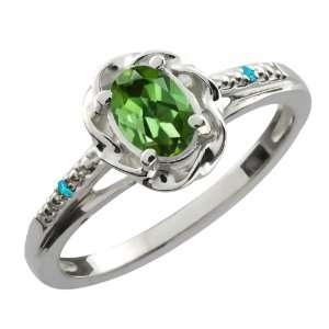 Ct Oval Green Tourmaline Swiss Blue Topaz 10K White Gold Ring Jewelry
