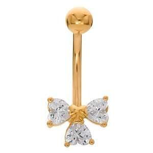 Hearts Bow Tie 14K Yellow Gold Belly Button Ring FreshTrends Jewelry