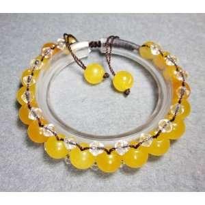 Yellow Jade Crystal Quartz Beads Bracelet