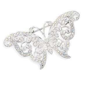 Clear Swarovski Crystal Butterfly Fashion Pin Jewelry