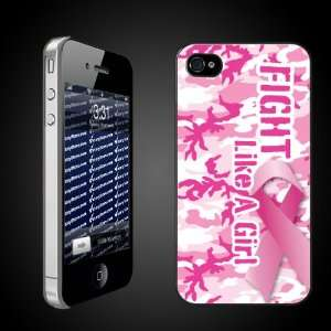 iPhone Hard Case   Fight Like a Girl Pink Camo/Pink Ribbon   CLEAR