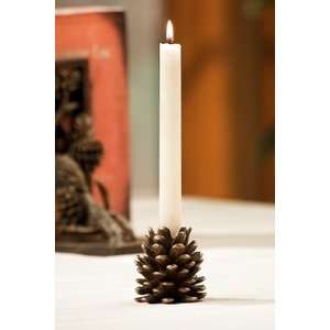 Rustic Pine Cone Taper Candle Holder