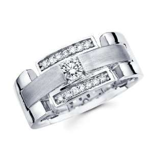 Mens Diamond Wedding Band 14k White Gold Engagement Ring (0.41 Carat