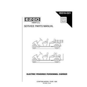 EZGO 28316G01 1996 Service Parts Manual for Electric Personnel Carrier
