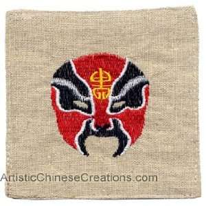 Chinese Table Decor Embroidered Chinese Coasters   Opera Mask (Set of