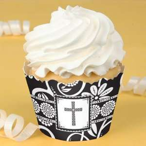 Floral Black & White Cross   Baptism Cupcake Wrappers Toys & Games