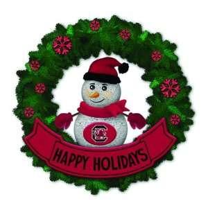Gamecocks Lighted Snowman Artificial Christmas Wreath