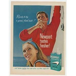 1965 Newport Cigarette Couple Sailing Print Ad (7028