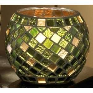 Green Mosaic Glass Votive Holder / Rose Bowl
