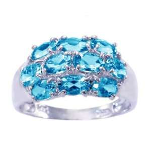 14K White Gold Oval Gemstone Cluster Ring Swiss Blue Topaz