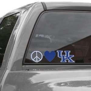 NCAA Kentucky Wildcats Peace, Love Car Decal Sports