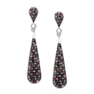 Long Tear Drop Multi Colored Swarovski Crystal Earrings Jewelry