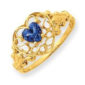 December Birthstone Blue Topaz Filigree Heart Ring   Size 6: Jewelry