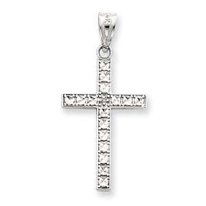 14k Gold White Gold Diamond Cut Cross Pendant Jewelry