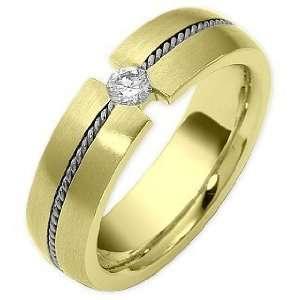 com 6mm Diamond Two Tone 18 Karat Gold Comfort Fit Wedding Band Ring