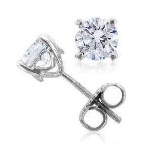 18k White Gold Heart Round Natural Diamond Stud Earrings (F G, VS2, 0