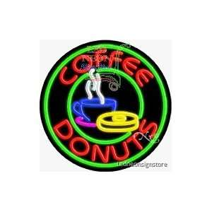 Coffee Donuts Neon Sign 26 Tall x 26 Wide x 3 Deep